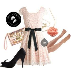 ModCloth Minuet Buttercream & Pink A-line Dress